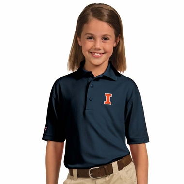 Illinois YOUTH Unisex Pique Polo Shirt (Color: Navy)
