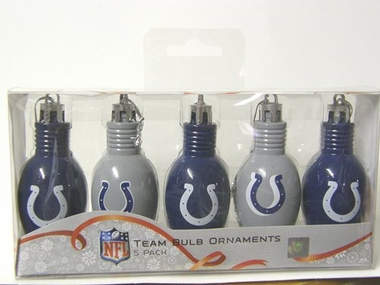 Indianapolis Colts 5 Pack Bulb Ornaments