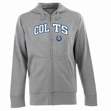Indianapolis Colts Mens Applique Full Zip Hooded Sweatshirt (Color: Gray)