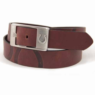 Indianapolis Colts Brown Leather Brandished Belt