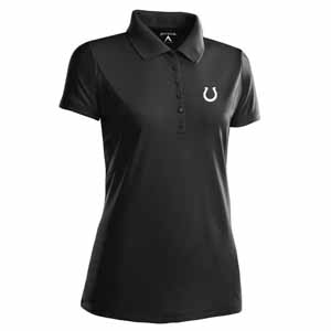Indianapolis Colts Womens Pique Xtra Lite Polo Shirt (Color: Black) - X-Large