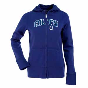 Indianapolis Colts Applique Womens Zip Front Hoody Sweatshirt (Color: Royal) - Small