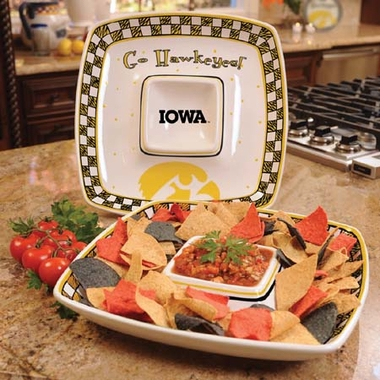 Iowa Gameday Ceramic Chip and Dip Platter