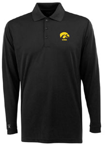 Iowa Mens Long Sleeve Polo Shirt (Color: Black) - Large