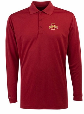 Iowa State Mens Long Sleeve Polo Shirt (Color: Red)