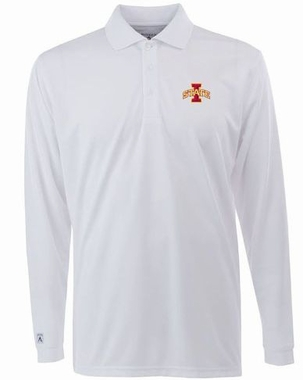 Iowa State Mens Long Sleeve Polo Shirt (Color: White)