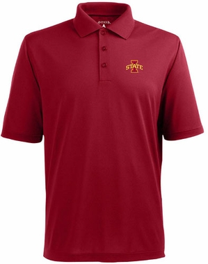 Iowa State Mens Pique Xtra Lite Polo Shirt (Color: Red)