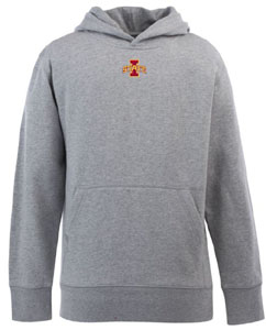 Iowa State YOUTH Boys Signature Hooded Sweatshirt (Color: Silver) - Small