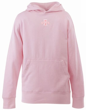 Iowa State YOUTH Girls Signature Hooded Sweatshirt (Color: Pink)