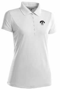 Iowa Womens Pique Xtra Lite Polo Shirt (Color: White) - X-Large