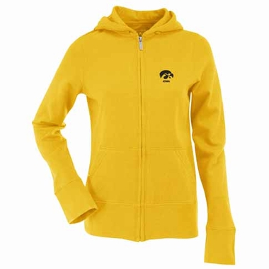Iowa Womens Zip Front Hoody Sweatshirt (Color: Gold)