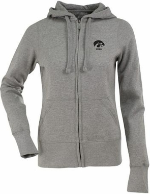 Iowa Womens Zip Front Hoody Sweatshirt (Color: Gray)