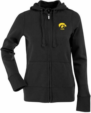 Iowa Womens Zip Front Hoody Sweatshirt (Color: Black)