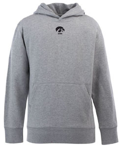 Iowa YOUTH Boys Signature Hooded Sweatshirt (Color: Gray) - Small