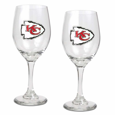 Kansas City Chiefs 2 Piece Wine Glass Set