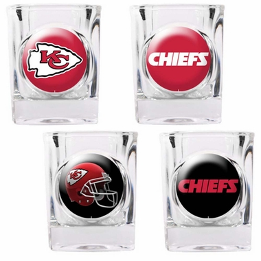 Kansas City Chiefs 4 Piece Assorted Shot Glass Set