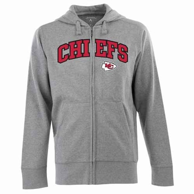 Kansas City Chiefs Mens Applique Full Zip Hooded Sweatshirt (Color: Silver)