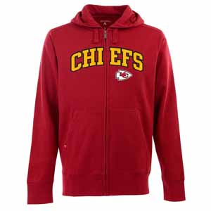 Kansas City Chiefs Mens Applique Full Zip Hooded Sweatshirt (Color: Red) - Small