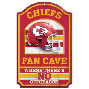 "Kansas City Chiefs Wood Sign - 11""x17"" Fan Cave Design"