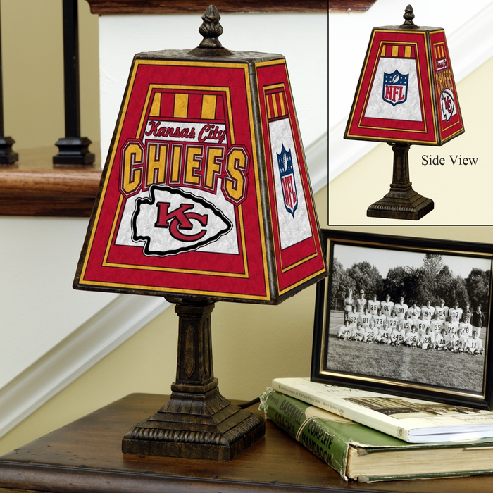 Kansas city chiefs small art glass lamp aloadofball
