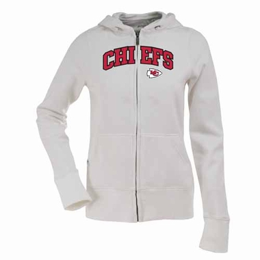 Kansas City Chiefs Applique Womens Zip Front Hoody Sweatshirt (Color: White)