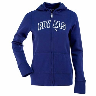 Kansas City Royals Womens Applique Zip Front Hoody Sweatshirt (Color: Blue)