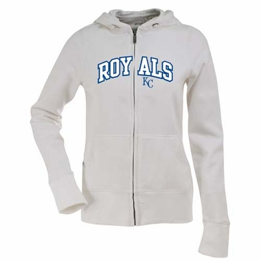 Kansas City Royals Womens Applique Zip Front Hoody Sweatshirt (Color: White)