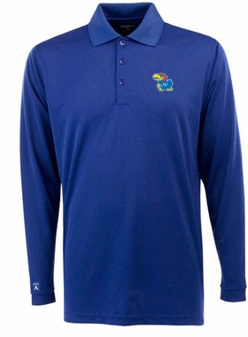 Kansas Mens Long Sleeve Polo Shirt (Color: Royal)