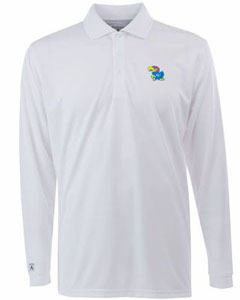 Kansas Mens Long Sleeve Polo Shirt (Color: White) - XXX-Large