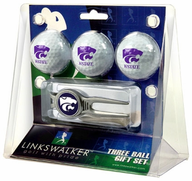 Kansas State 3 Ball Gift Pack With Kool Tool
