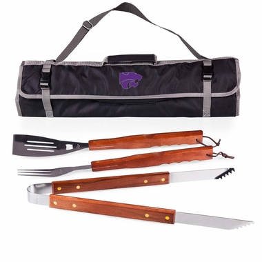 Kansas State 3 Piece BBQ Tote (Black)