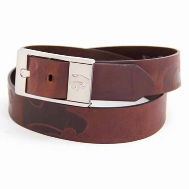 Kansas State Brown Leather Brandished Belt
