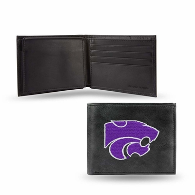 Kansas State Embroidered Leather Bi-Fold Wallet