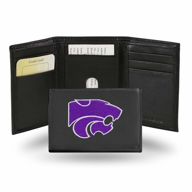 Kansas State Embroidered Leather Tri-Fold Wallet