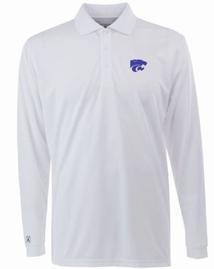 Kansas State Mens Long Sleeve Polo Shirt (Color: White)