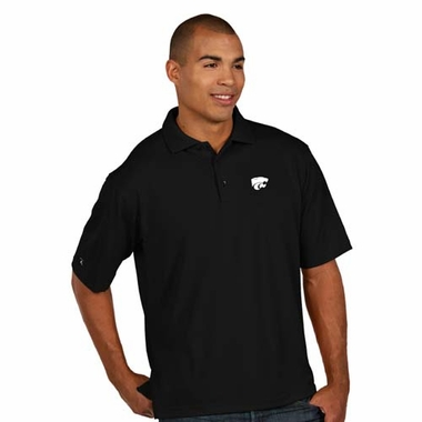 Kansas State Mens Pique Xtra Lite Polo Shirt (Color: Black)