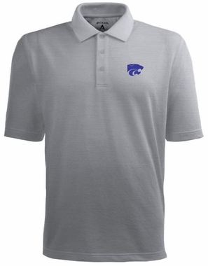Kansas State Mens Pique Xtra Lite Polo Shirt (Color: Silver)