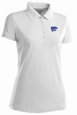 Kansas State Womens Pique Xtra Lite Polo Shirt (Color: White)