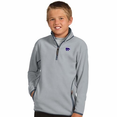 Kansas State YOUTH Unisex Ice Polar Fleece Pullover (Color: Gray)