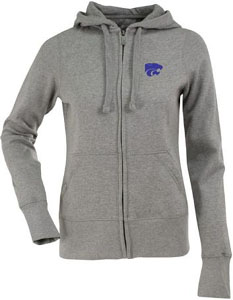 Kansas State Womens Zip Front Hoody Sweatshirt (Color: Gray) - Small