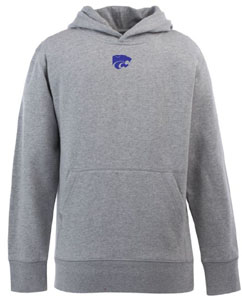 Kansas State YOUTH Boys Signature Hooded Sweatshirt (Color: Gray) - Large