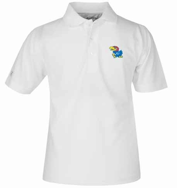 Kansas YOUTH Unisex Pique Polo Shirt (Color: White)