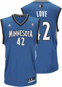 Kevin Love Adidas YOUTH Minnesota Timberwolves Replica Blue Jersey - Large