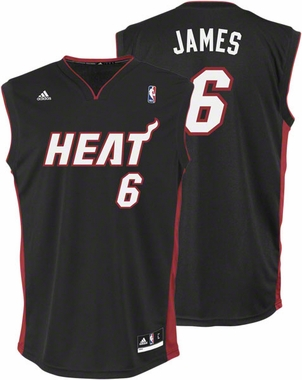 Lebron James Adidas Miami Heat Replica Black YOUTH Jersey