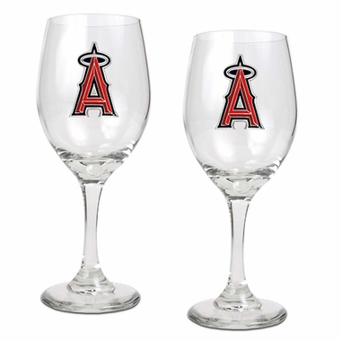Los Angeles Angels 2 Piece Wine Glass Set