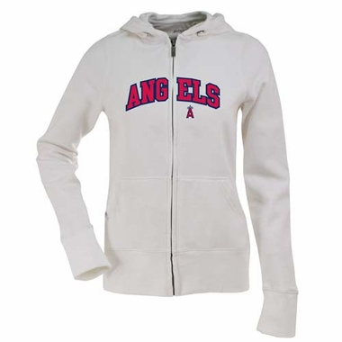 Los Angeles Angels Applique Womens Zip Front Hoody Sweatshirt (Color: White)