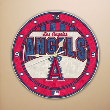 Los Angeles Angels Art Glass Clock