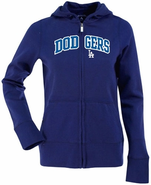 Los Angeles Dodgers Womens Applique Zip Front Hoody Sweatshirt (Color: Blue)
