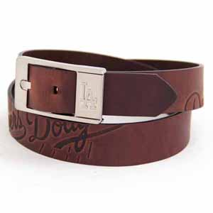 Los Angeles Dodgers Brown Leather Brandished Belt - Size 32 (For 30 Inch Waist)