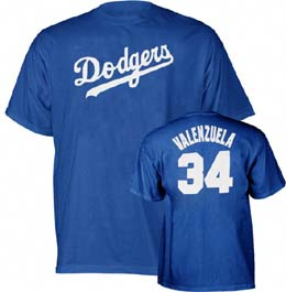 Los Angeles Dodgers Fernando Valenzuela Name and Number T-Shirt - Medium